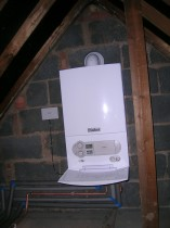 Typical 'combi' boiler loft installation